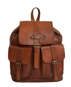 Genuine Cognac Leather Backpack For Womens Casual Office Organiser Day Rucksack