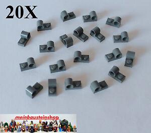20X-Lego-11458-Technic-Platte-modifiziert-1X2-mit-Achsloch-neues-Dunkelgrau