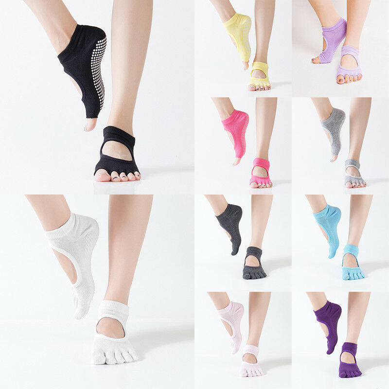 Women Yoga Non Slip Socks Half Full Toe Pilates Massage Gym Sport Ankle Grip New