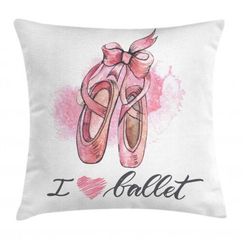 Ich liebe Ballett Typography Beidseitiges Muster Ballerina Kissenbezug