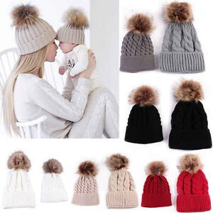 2PSC Mom Newborn Baby Boy Girl Winter Warm Fur Pom Bobble Knit ... e0709040d3a