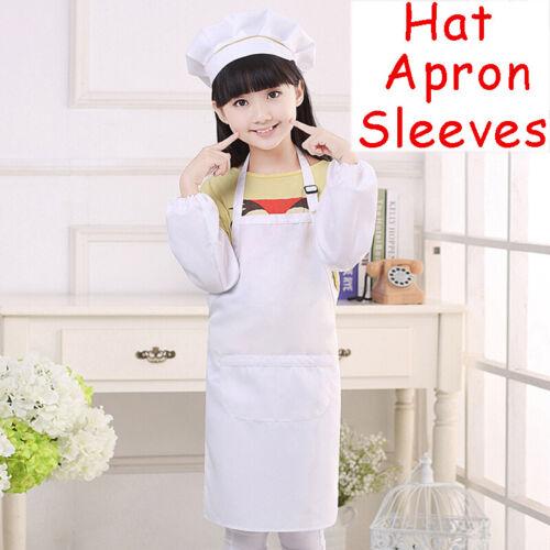 Enfants Enfants Tablier Poche Réglable Chefs Chapeau Cuisine Cuisson Art Bavoir Manches