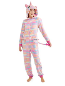 2X Unicorn Pink Pajamas One Piece Tie Dye Union Suit Hooded Costume Womens New