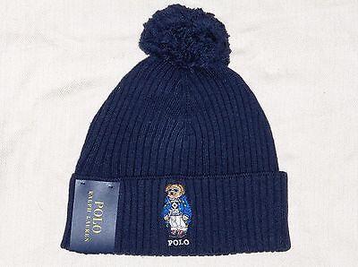 POLO RALPH LAUREN Cuffed Ski Bear Pom-Pom Beanie, Skull Ski Cap Hat, NAVY BLUE