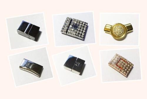 8-14mm Magnetverschluss teils mit Strass versch Modelle gold rose platin