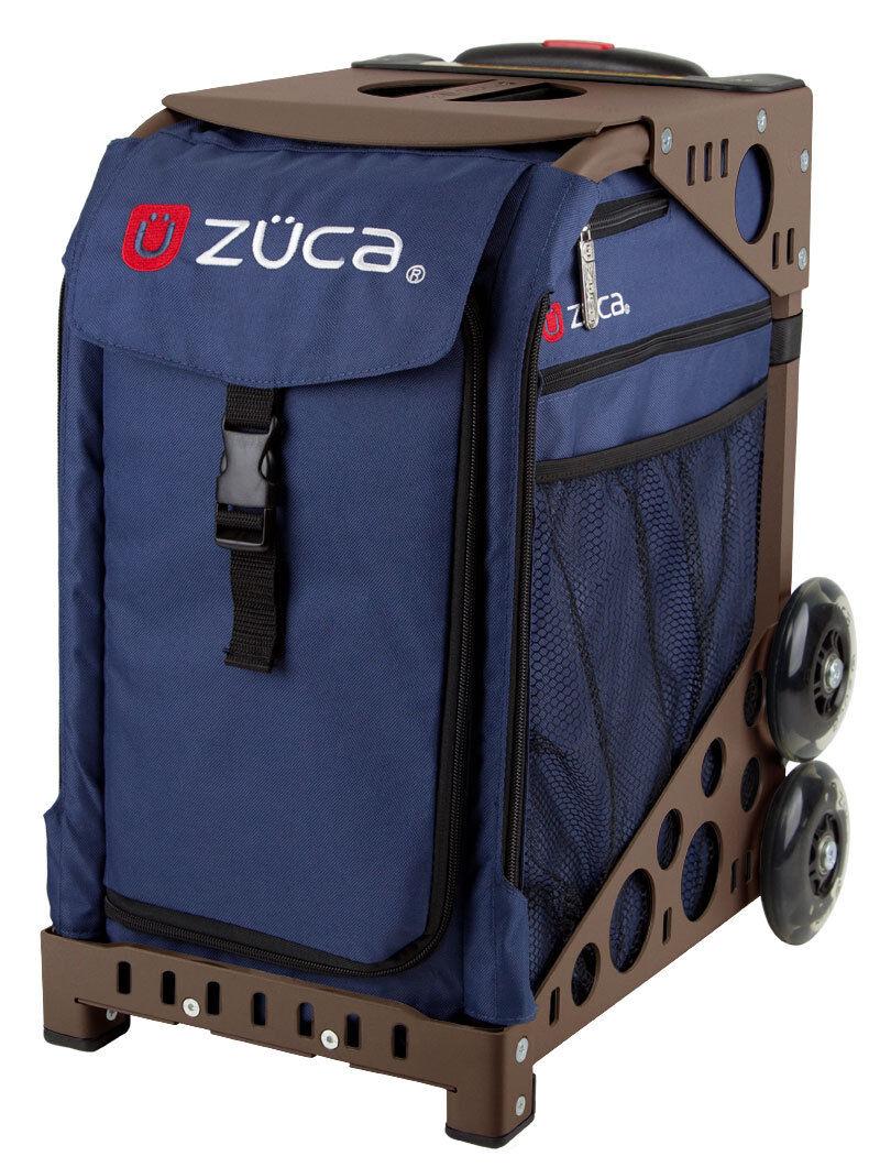 ZUCA Bag MIDNIGHT Insert & Brown Frame w Flashing Wheels - FREE SEAT CUSHION