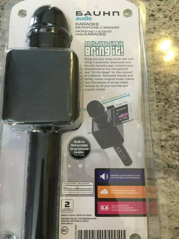 BAUHN KARAOKE MICROPHONE AND SPEAKER  W/BLUETOOTH   IOS/ ANDROID READY