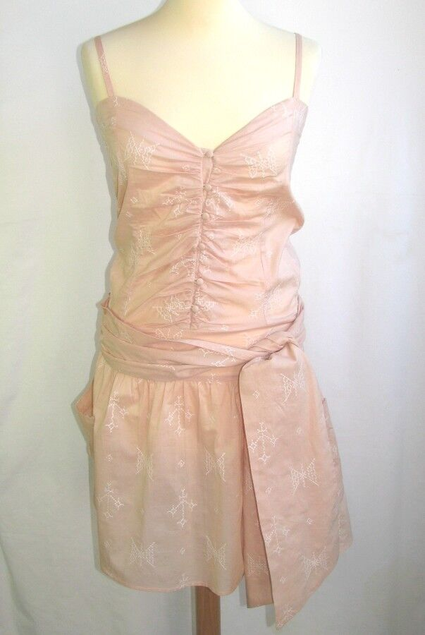 BY ZOE DRESS SHORT HAS FITTINGS BEIGE COTTON PINK & WHITE T 1 = 36 EXCELLENT