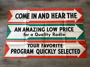 """Vintage New Amazing Low Price Quality Bakelite Radio SIGN Advertising 59x39"""""""