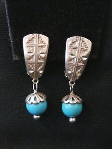 Image Is Loading Vintage Sterling Silver Turquoise Dangle Southwestern Earrings Make