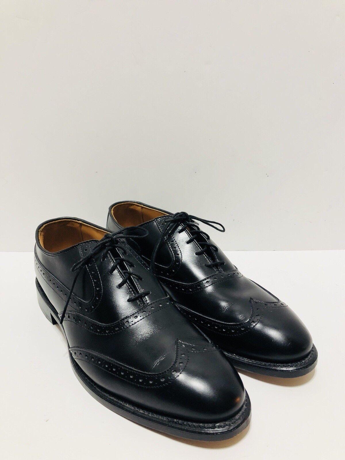 Allen Edmonds Birmingham Noir Cuir Bout D'Aile Richelieu à Chaussures Oxford Hommes Sz 9.5 A