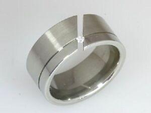 Edelstahl-Ring-Damen-Spannring-Zirkonia-Brilli-Stein-Bandring-Neuer-7-mm-schoener