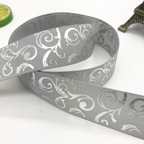 3//4 pouces 20 mm Imprimé Hot Argent Nœud en Satin Ruban Cheveux Couture Gris Nouveau À faire soi-même 5 Yd environ 4.57 m