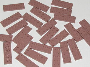 LEGO-LOT-OF-25-NEW-2-X-6-DOT-SAND-RED-PLATES-BUILDING-BLOCKS