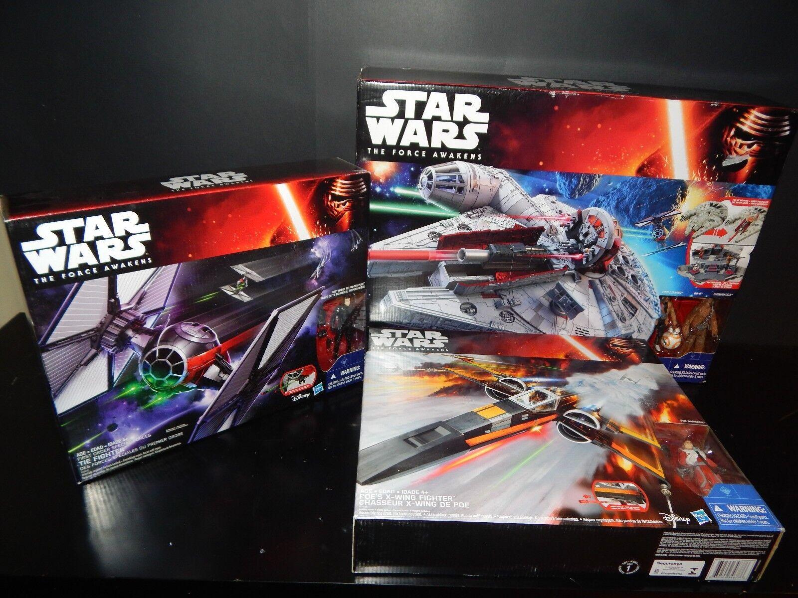 Star Wars Force Awakens Millennium Falcon Falcon Falcon X Wing Fighter & Tie Fighter 67429f
