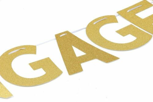 """Golden /""""Engaged/"""" Party Banner Glitter Gold Engagement Bunting Decoration Garland"""