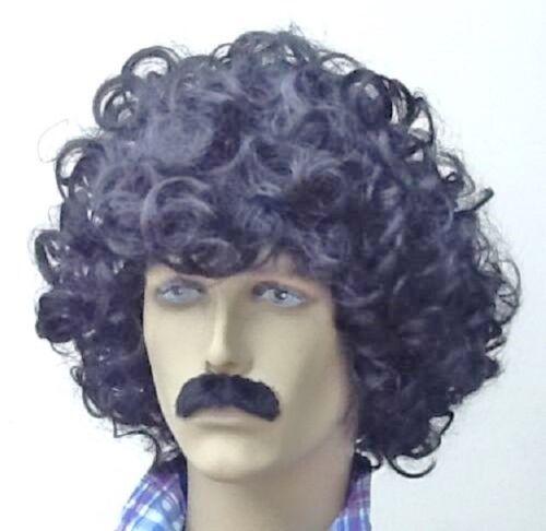Men/'s Black Curly Wig and Moustache Set Fancy Dress Wig