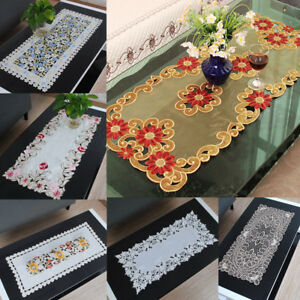 White-Doily-Embroidered-Placemat-Flower-Tablecloth-Table-Runner-Cover-Decor