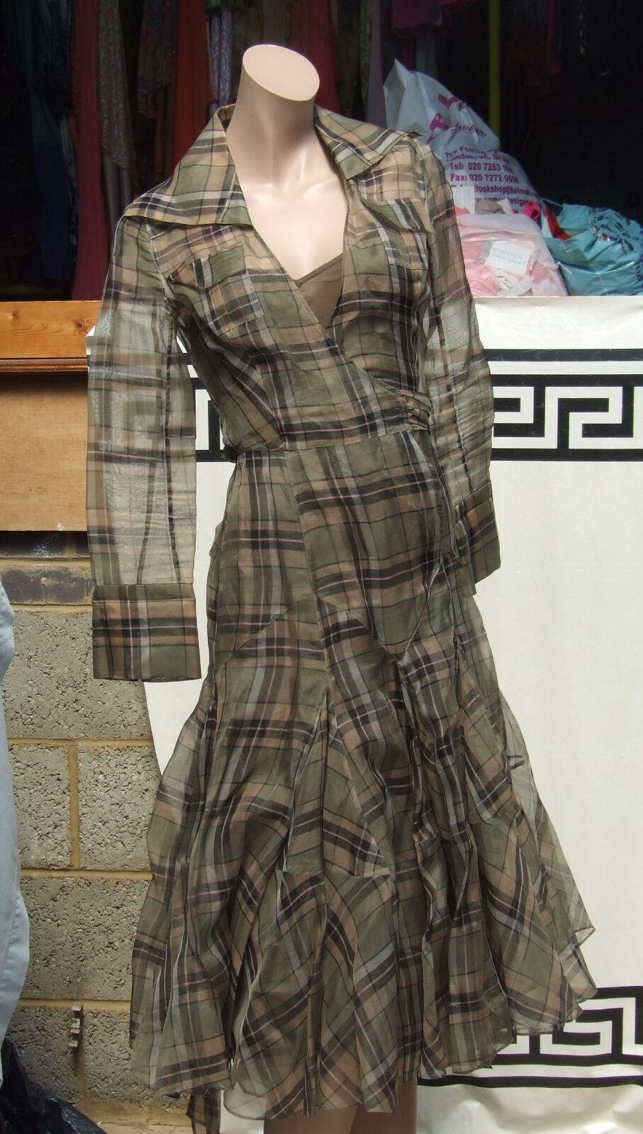 Diane Von Furstenberg DVF Exquisite Check Organza Silk Wraparound Eve Dress UK 8