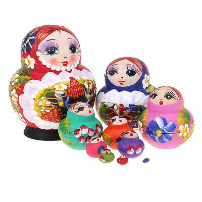 Flowers Girl Printed Russian Babushka Matryoshka Nesting Dolls Kids Toys