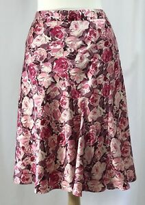 6a47c66ac BANANA REPUBLIC Pink Floral A-Line SILK Skirt Rose Pattern Knee ...