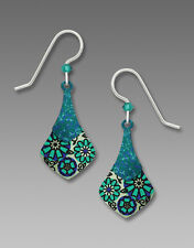 Teal Necktie Shape EARRINGS by Adajio Retro Floral Sterling Silver  - Gift Boxed
