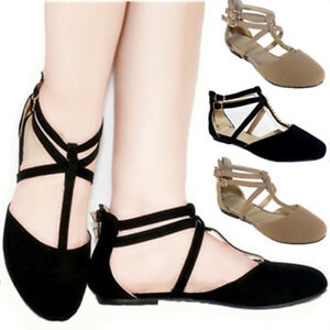 New-Women-Ankle-Strap-Casual-Zipper-Slip-On-Ballet-Flat-Shoes