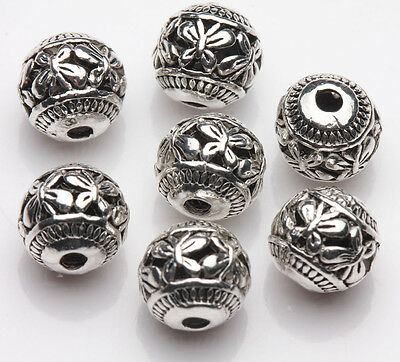 10/20pcs Tibet Silver Carving Hollow Out Loose Spacer Bead Charm Finding 8MM DIY