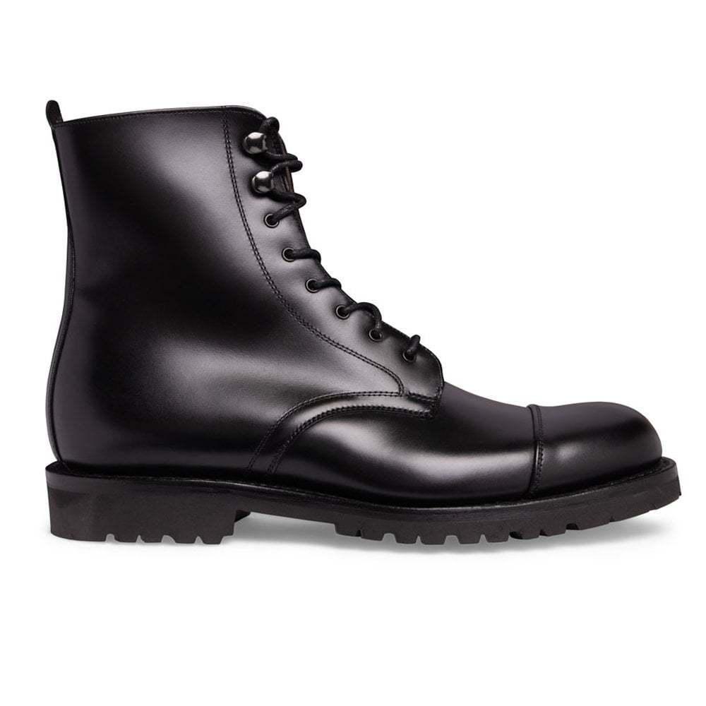 De hombre hecho a Mano Cuero Negro Ma Sham R país marchando Derby botas, botas al tobillo