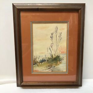 B-E-Giles-Watercolor-Painting-Gulf-Coast-Jetty-LA-Louisiana-Matted-Framed-Art