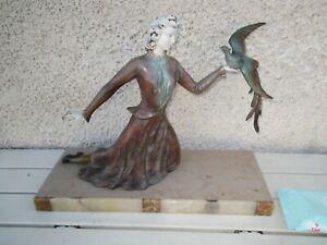 Sculpture-Statue-Regule-Art-Deco-Chryselephantine-Femme-amp-L-039-Oiseau-Pan