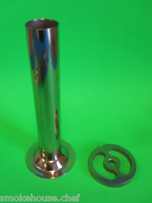 """1 1/4""""Large dia x #12 Sausage Stuffing Tube Funnel & Stuffer Kidney plate disc"""