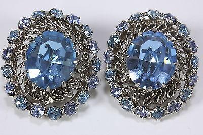 Vtg Pair of Blue Rhinestone Faux Gemstone Clip-On Earrings Filigree Austria