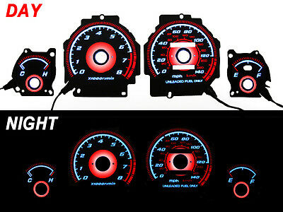 RED GLOW 90-93 ACURA INTEGRA LS / GS / RS GAUGE FACE OVERLAY FREE SHIP