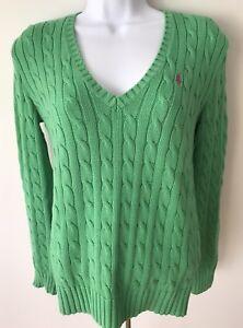 Ralph Lauren Sport Womens Sweater Pullover Green Cable