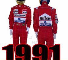 New Ayrton Senna 1991 HONDA McLaren Red Replica Formula 1 Suit S-3XL +Gift $45