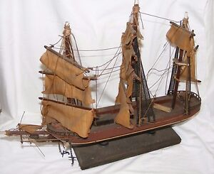 VINTAGE-MODEL-OF-A-CLIPPER-SAILING-SHIP-FOR-RESTORATION