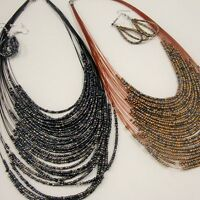 20 20 Strand Seed Bead Necklace & Earring Set Bronze/black Your Choice