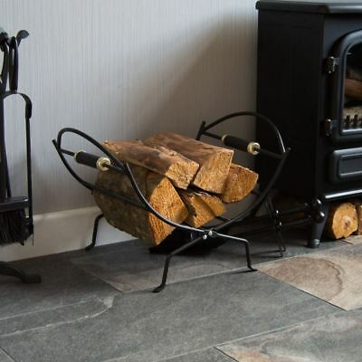 Folding Log Holder Fireside Rack Fire Wood Holder Carrier Black By Home Discount
