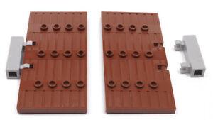 LEGO-2-x-Tuer-1x5x8-1-2-braun-mit-Scharniersteinen-hellgrau-87601-NEUWARE