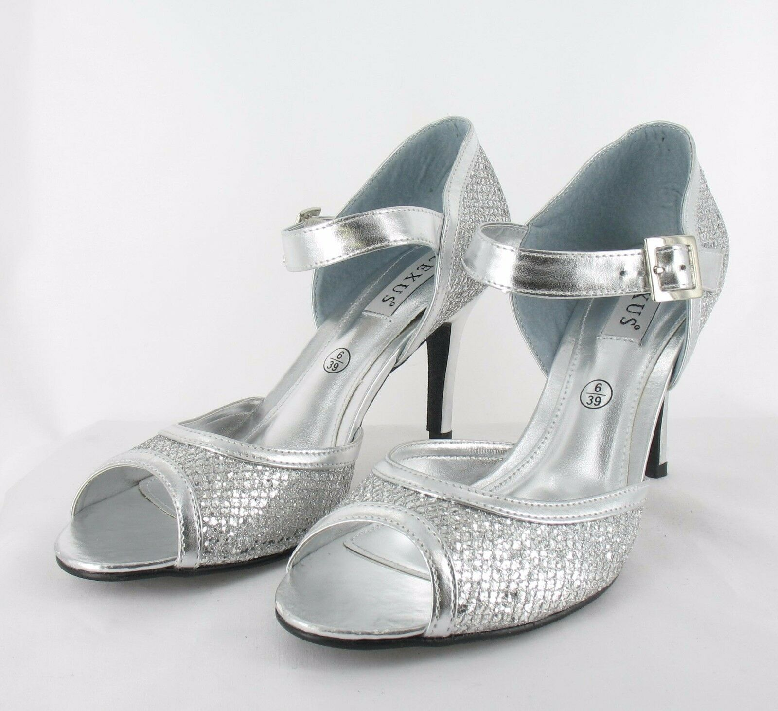 Ladies Shoes Size 7 Silver Party Prom Wedding Bridal (S6/6/17-4)
