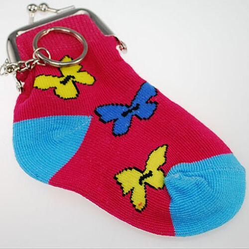 Kinder Damen Geldbörse Schlüsselanhänger Socken rot