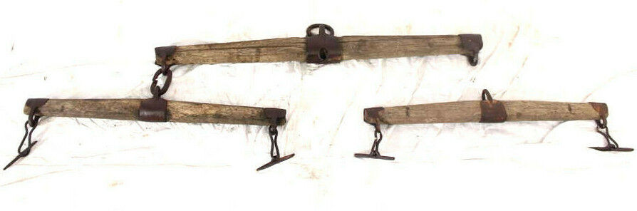 ANTIQUARIATO bue stoviglie cavtuttii tuttieanza legno U. ferroAntique OX Narrow ski wood
