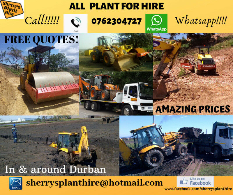 Plant for Hire Call 0762304727 - TLBs, Rollers, Payloader and Lowbed