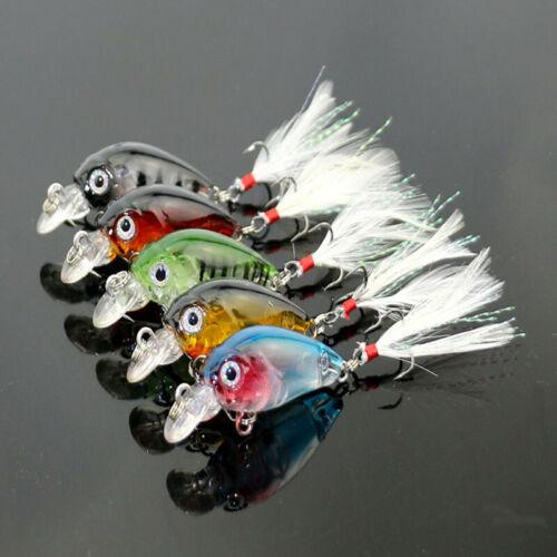 5PCS Mini Fishing Lures Bass Tackle Hooks Baits Wobblers Crankbait 4.5cm//4g
