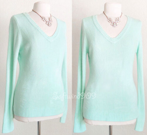 NEW Light Mint Blue Classic Fitted VNeck Long Sleeves SOFT Cozy Knit Sweater Top