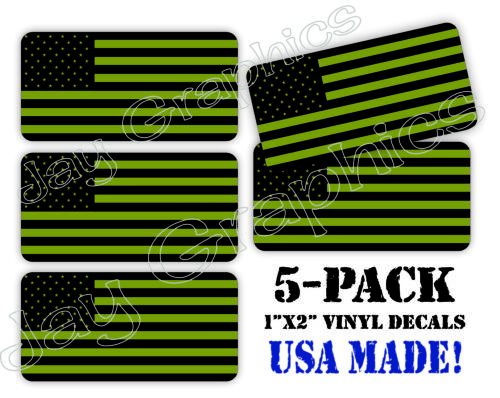 5-pack OD Green American Flags Hard Hat Decals Helmet Stickers Labels USA Flag