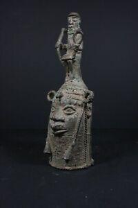 BENIN-Bronze-African-ONI-King-Head-with-Messenger-Nigeria-Benin-TRIBAL-ART