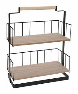 Details zu Holz Gewürzregal 40x30x15 cm - 2 Ablagen - Metall Küchen Regal  Gewürz Ständer