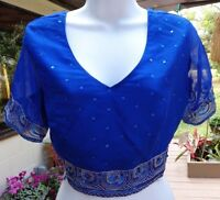 Bright Blue India Arts Choli Top Decorated W/sequins & Embroidered Border S/m